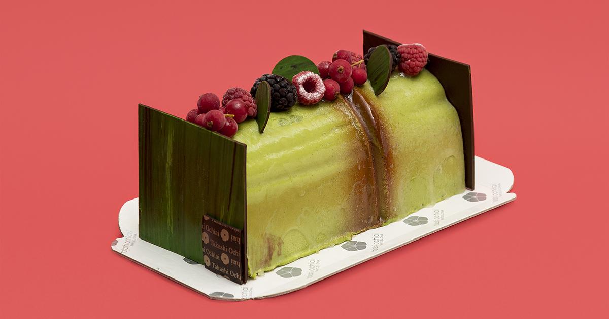 Té verde , mousse de chocolate blanco y té verde, coulis de frambuesa, mousse de chocolate Manjari 64% y bizcocho de almendra