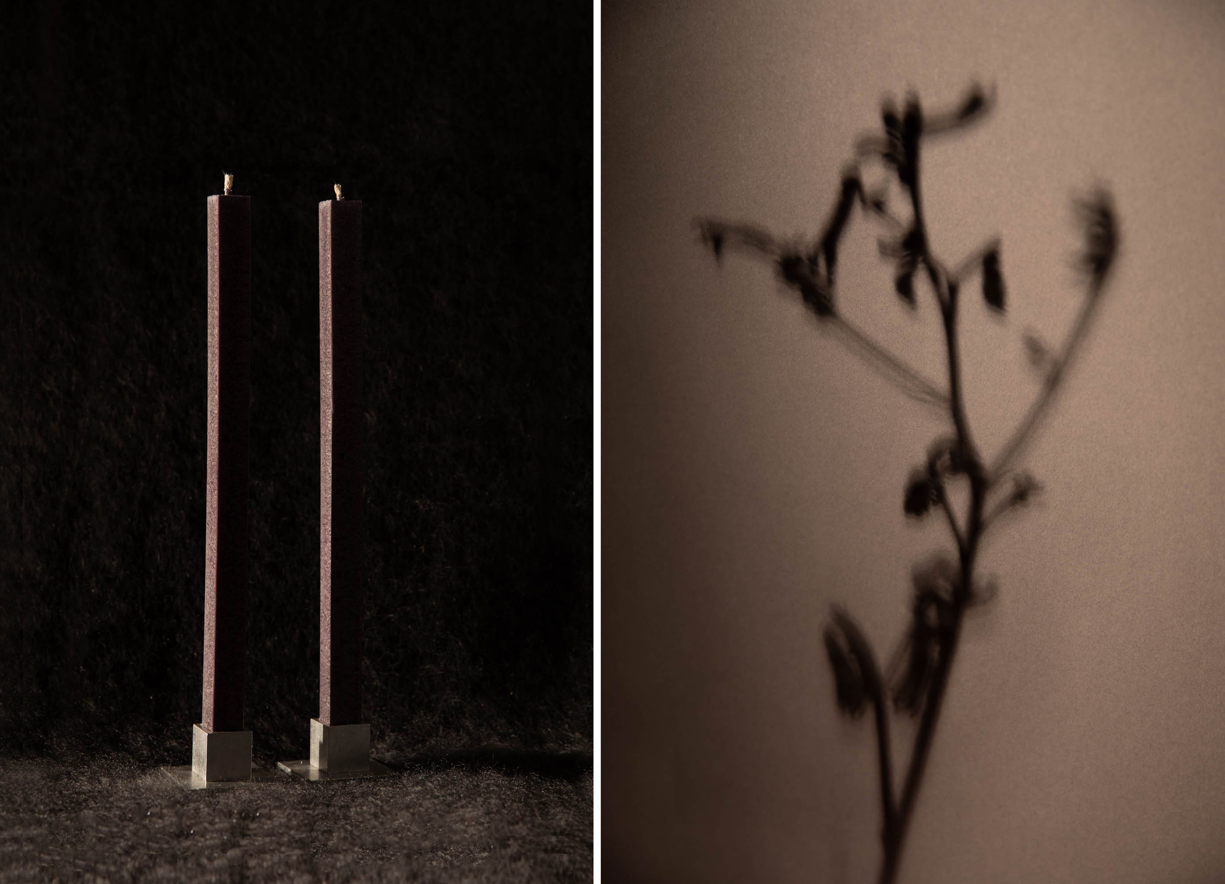 PIRONII /  Square candles in Anthracite with aluminum stands