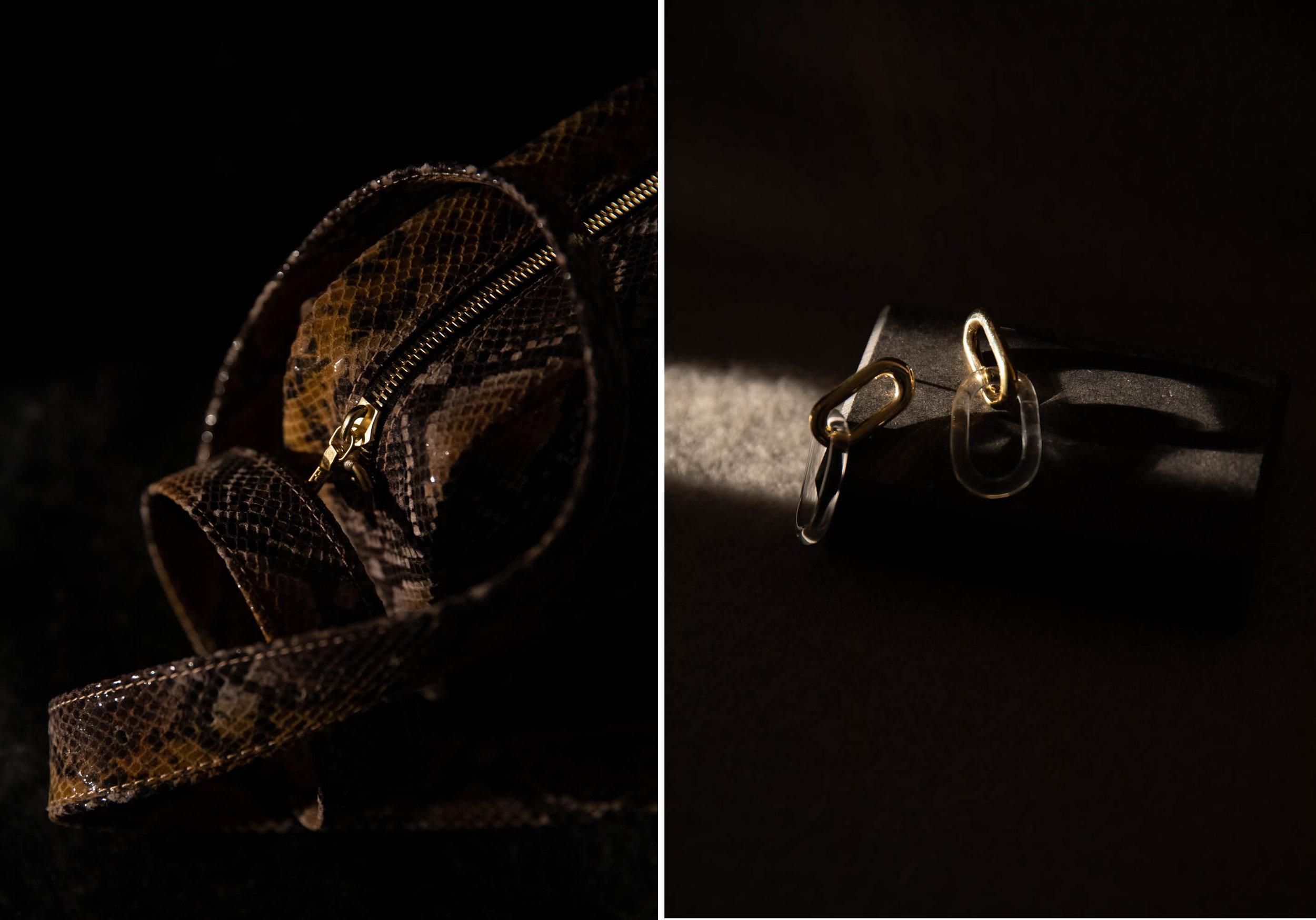 OPELLE POUR SOUVENIR /  Viper Belt Bag -  JANE D'ARENSBOURG Earrings