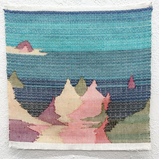"""Woven """"Lakescape"""" from a series of imagined and remembered landscapes."""