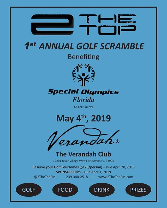 🏌️ ⛳️ Event to benefit the  #specialolympics of Florida - Lee County ⛳️🏌️ Contact us directly for Golf Participation (Individual and 4some)  Multiple Level Sponsorship/Donation opportunities available!!! #2thetop #specialolympics #golffundraiser #goodcause #fortmyersfitness #fortmyers