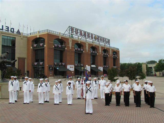 THE 1124TH CONSTRUCTION BATTALION sea cadets were chosen by the Atlanta Braves to provide the colors for the Braves home opener against the milwaukee brewers.