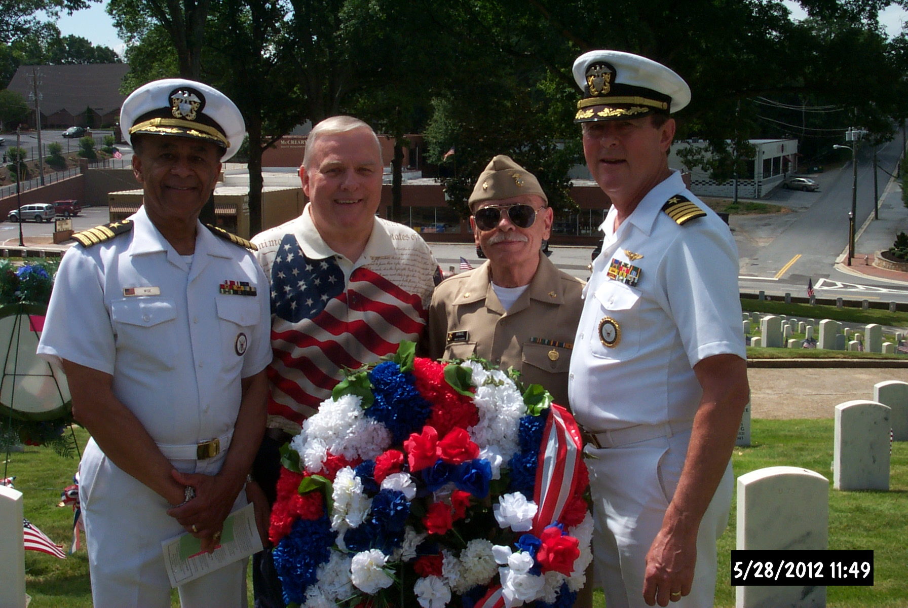 four of the council's members together at the memorial day wreath laying, (L-R) Treasurer Robert Wise, JR, VP Legislative affairs don giles, NSCC Chair Jim serrate, and past president harley jones.