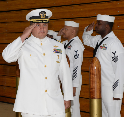 DOBBINS AIR RESERVE BASE, Ga. (July 11, 2015) Capt. Ralph F. DeWalt II, the new commanding officer of Navy Operational Support Center Atlanta, arrives at his change of command ceremony. With 1,300 reservists assigned to nearly 30 units, and a full-time staff of 38 military members and civilians, NOSC Atlanta is the fifth-largest Navy facility of its kind. (U.S. Navy photo by Petty Officer 1st Class Adam C. Stapleton/Released)