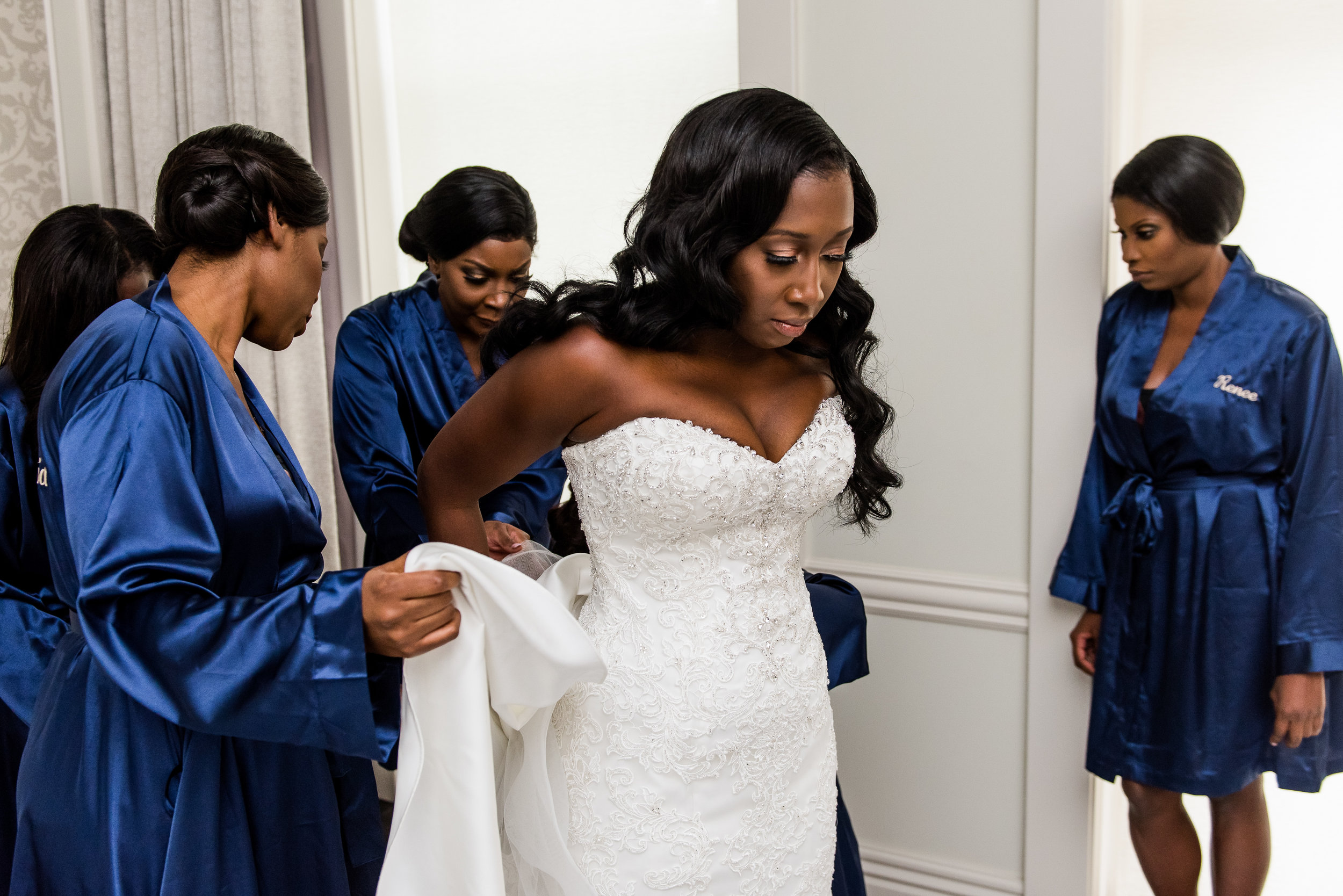 THE ONE - The strapless beaded-bodice, corset back bridal gown by Maggie Sottero left our bride in awe the moment she slipped it on at Kleinfeld Bridal.
