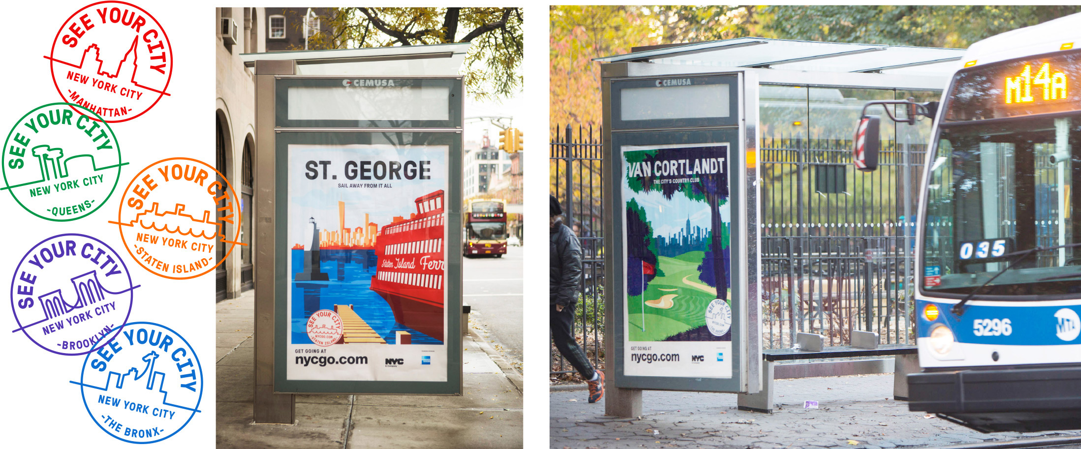 Borough stamps and bus shelters