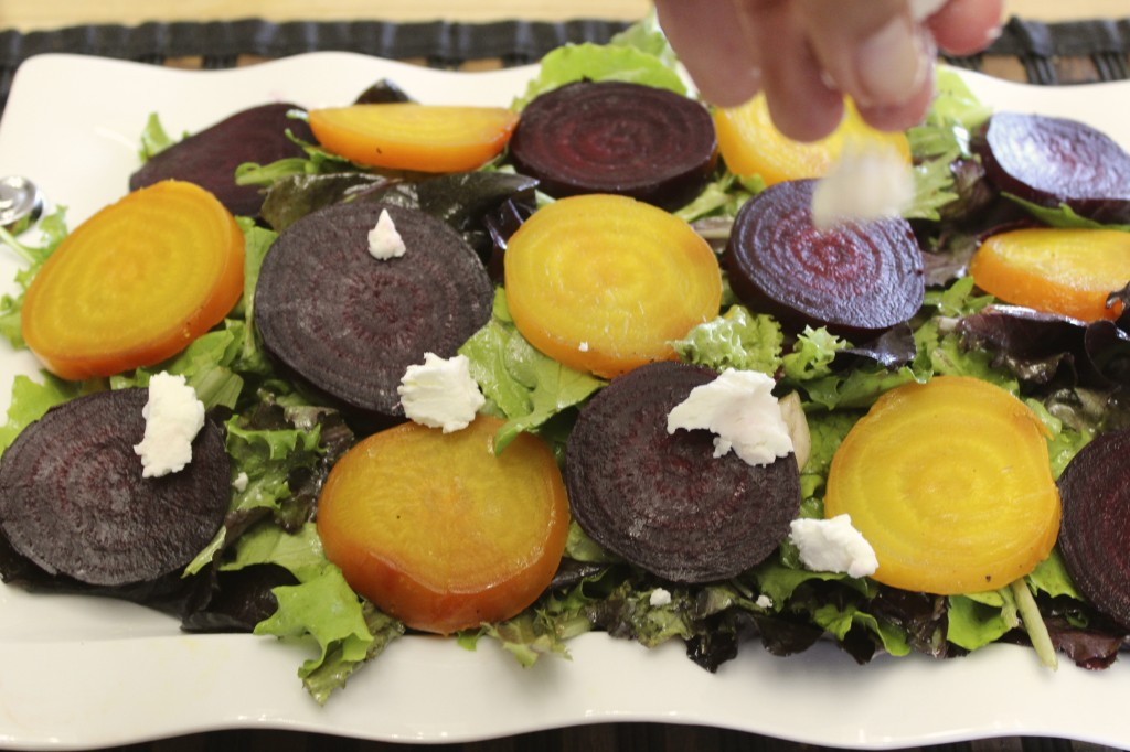 beet goat cheese salad orange thyme vinaigrette 59