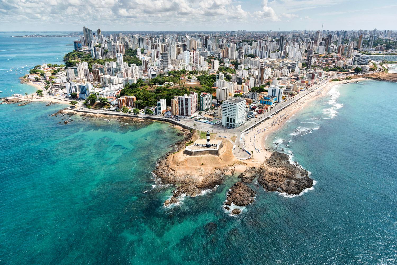 Vista aérea do Farol da Barra, Salvador - Bahia