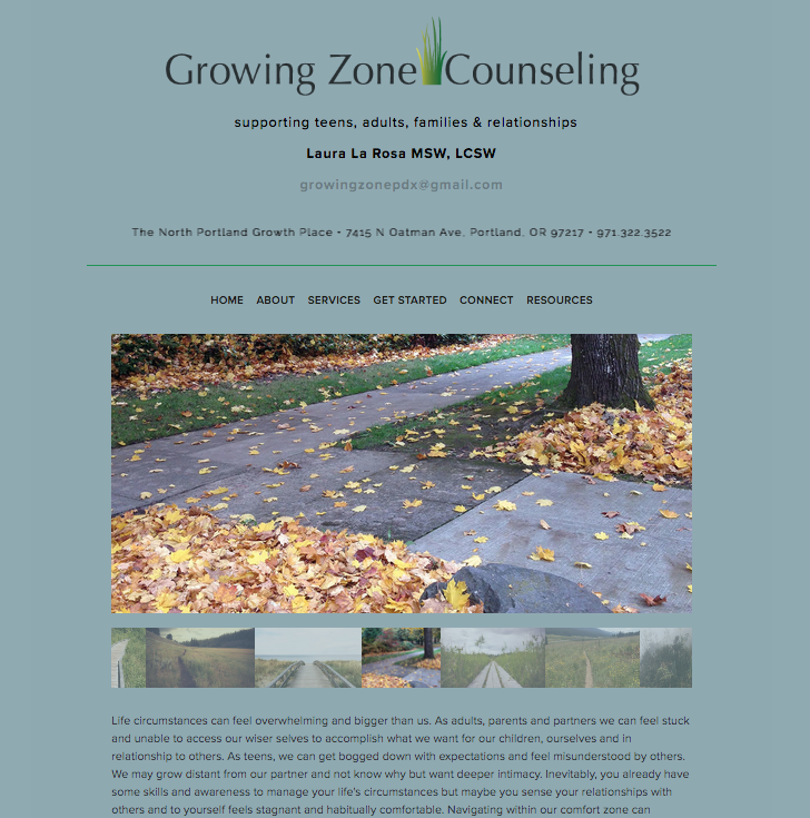 Branding and web site design.  www.growingzonecounselingpdx.com/