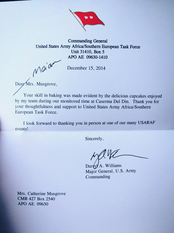 Letter from Major General Williams