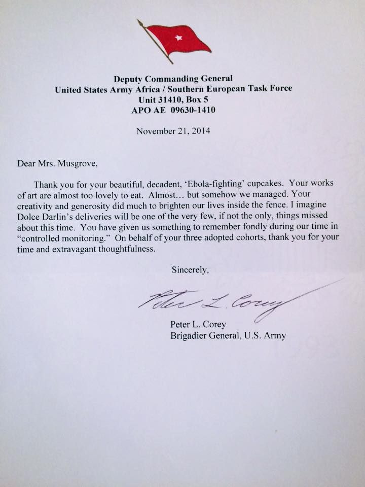 Letter from Brigadier General Corey