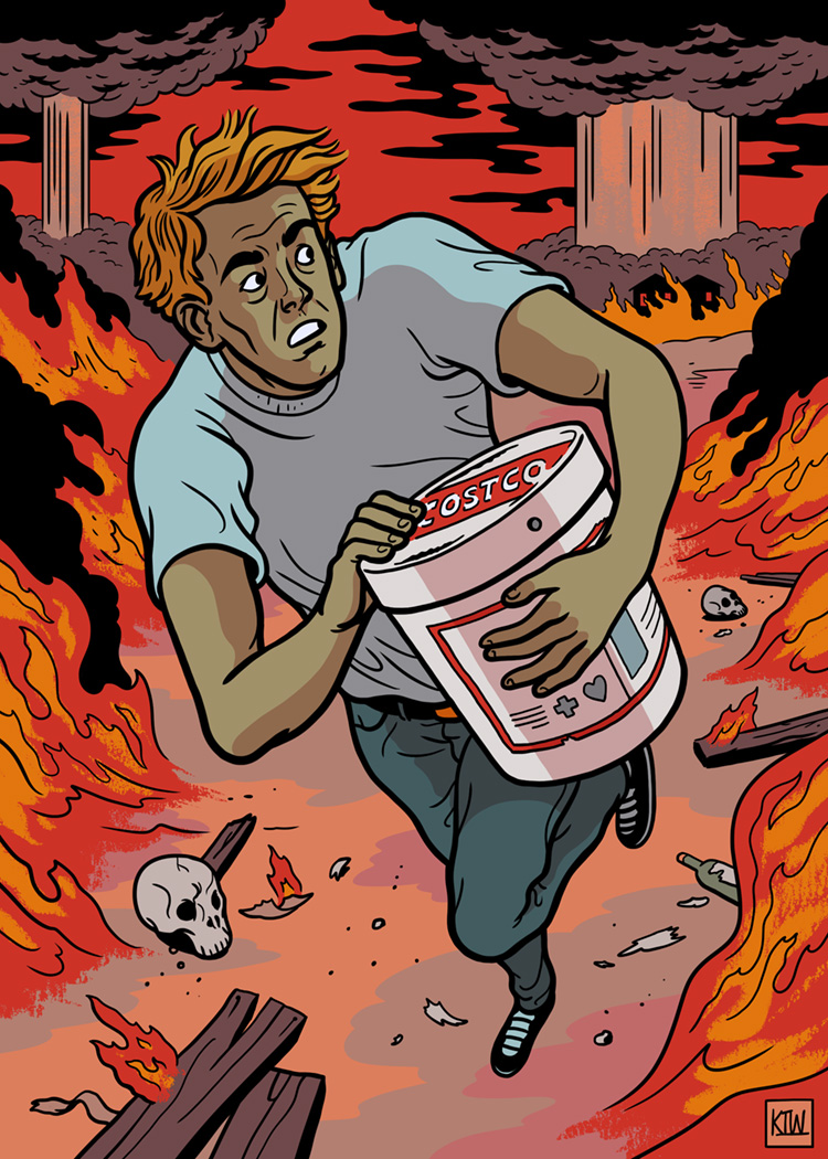 An illustration for PLAYBOY on the subject of emergency buckets of supplies being sold at Costco in the event of the apocalypse.