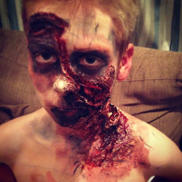 Here is my handy work on my brother 2 halloweens ago.