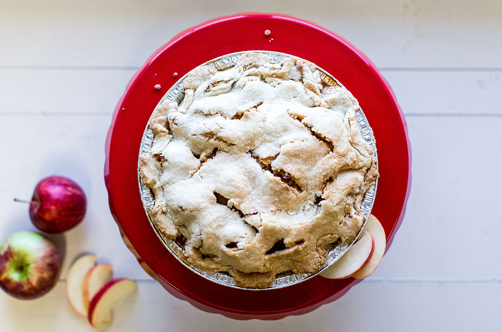 Classic Double Stuffed Apple Pie - Sacia's famous apple pies are freshly made each day. Our recipe of just picked apples and homemade flaky crust makes a pie that you'll want to come back for. Enjoy them fresh, frozen or by the slice.