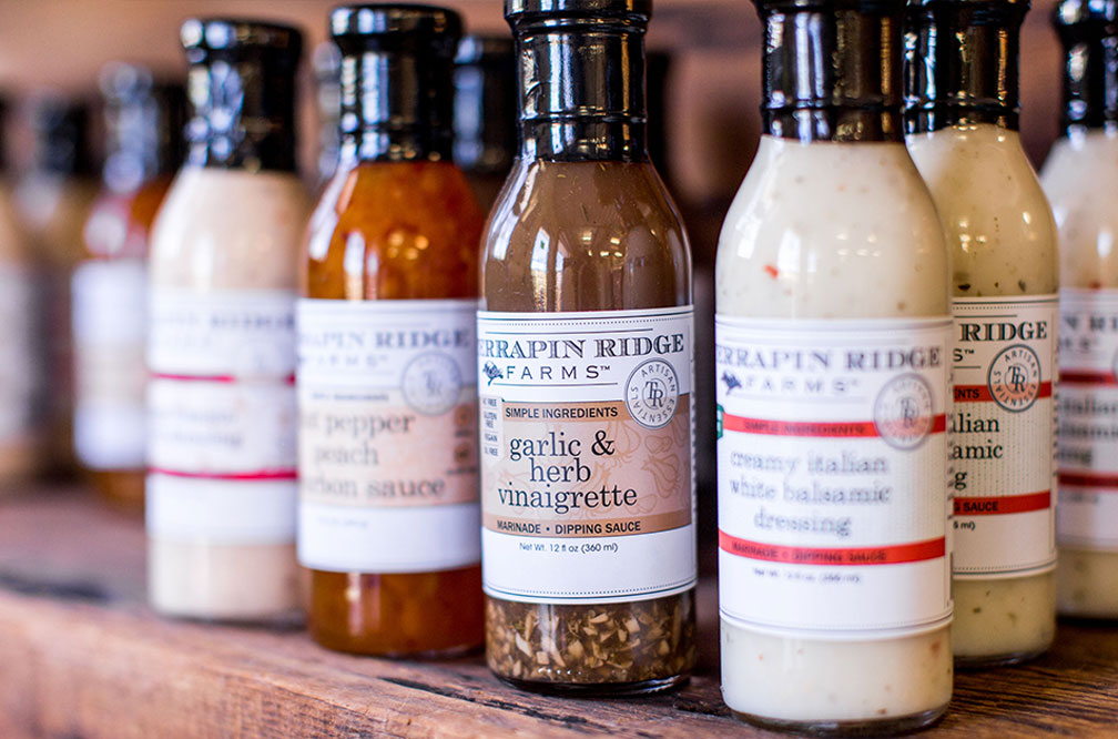 Terrapin Ridge Farms - Dips & Dressings - The most unique flavors of dips and dressings to add some flavor to any gathering. Top sellers include Apple Maple Bacon Jam, Bacon Pepper Dip, and Creamy Chipotle Pepper dip. Selection varies each week.