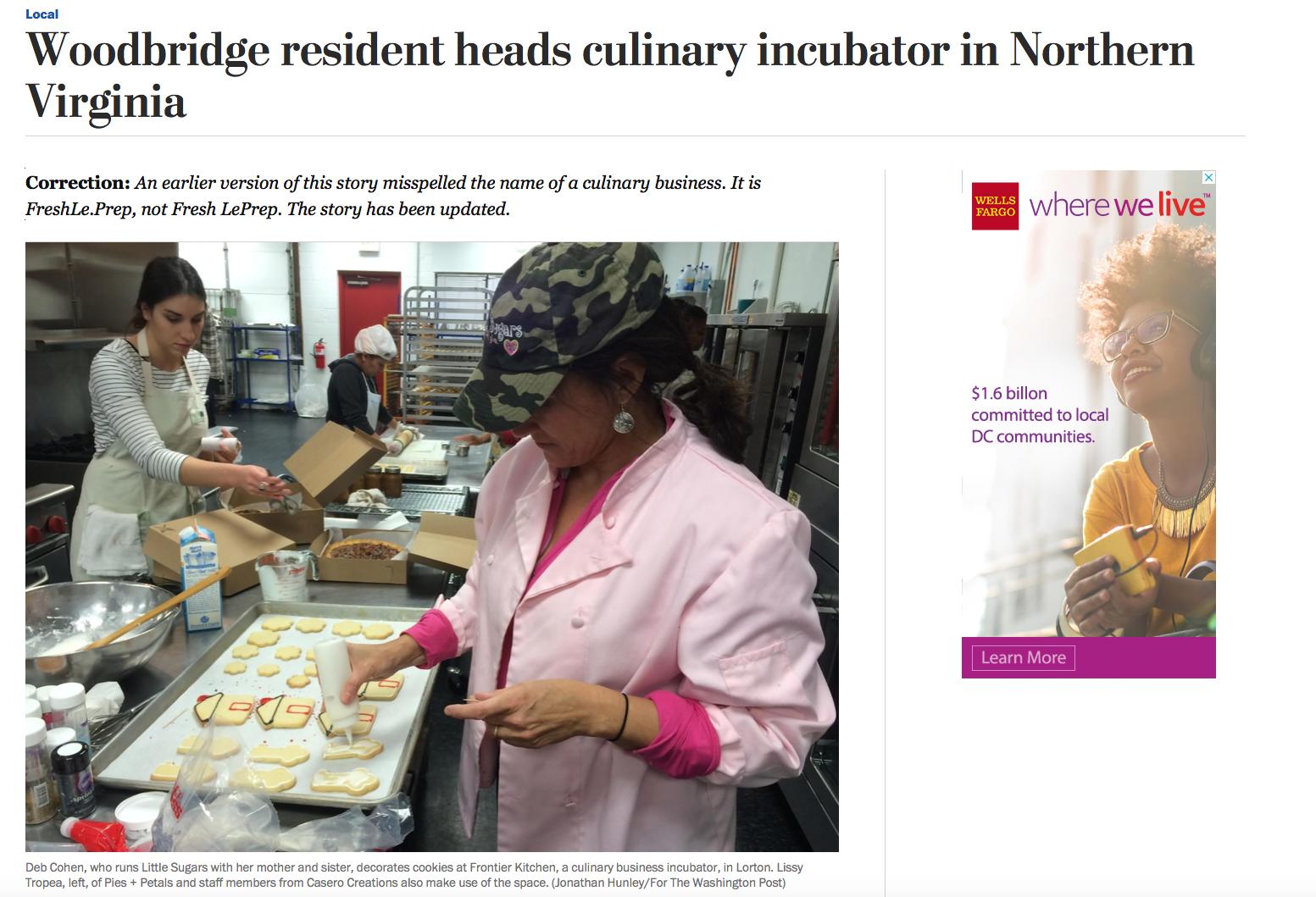 """Woodbridge resident heads culinary incubator in Northern Virginia""    Washington Post 17 January 2016"