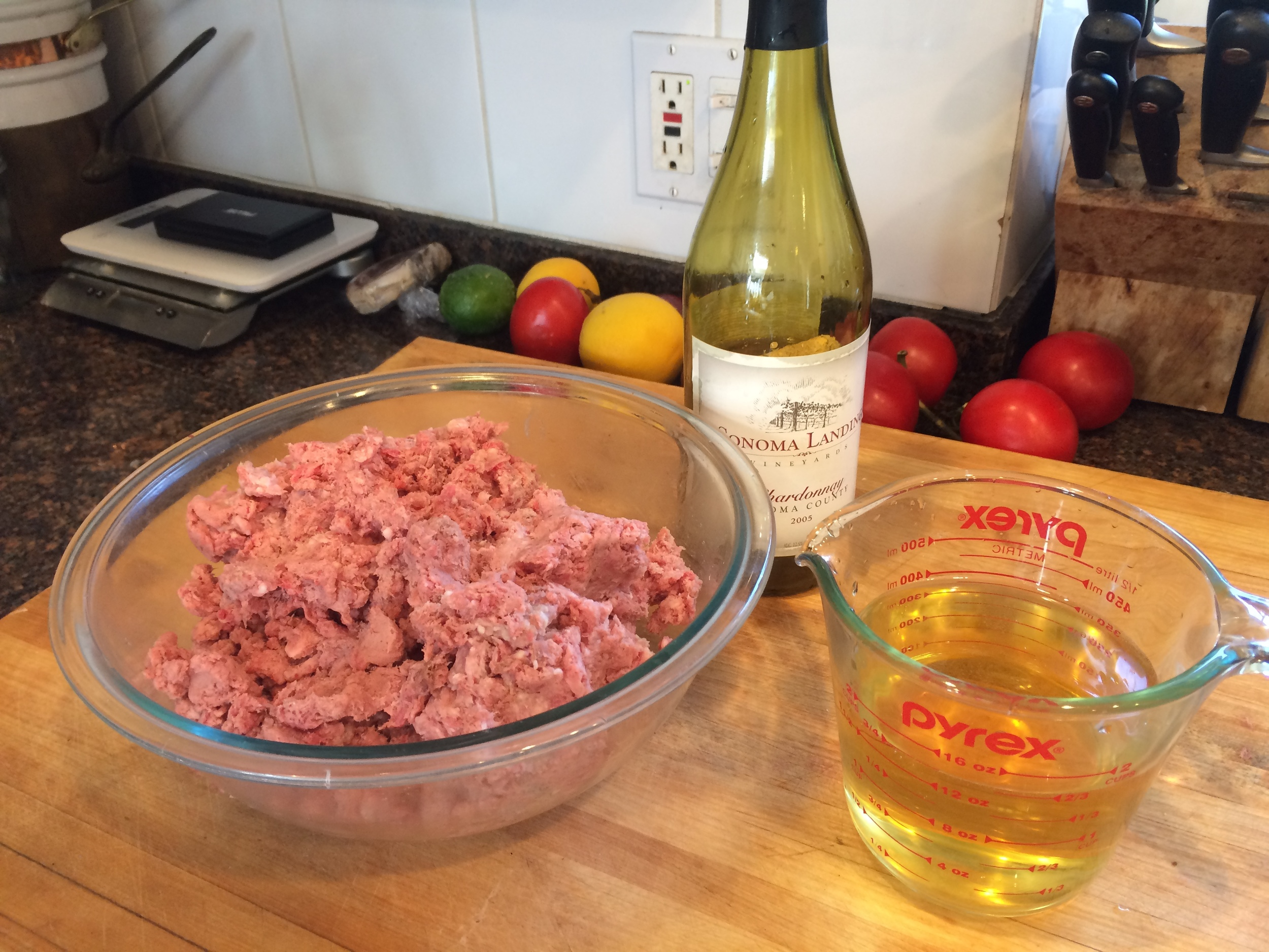 Add wine to the meat to loosen it before browning