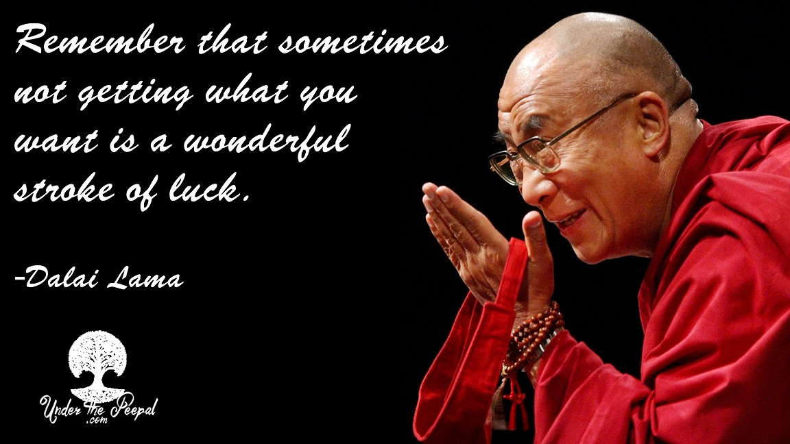 Remember that sometimes not getting what you want is a wonderful stroke of luck Dali Lama
