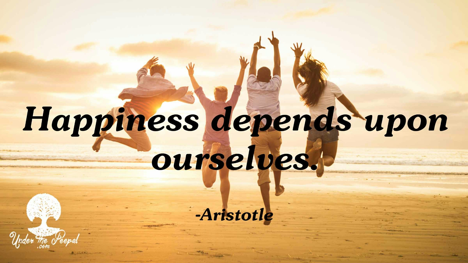 Happiness depends on ourselves quote- Aristotle
