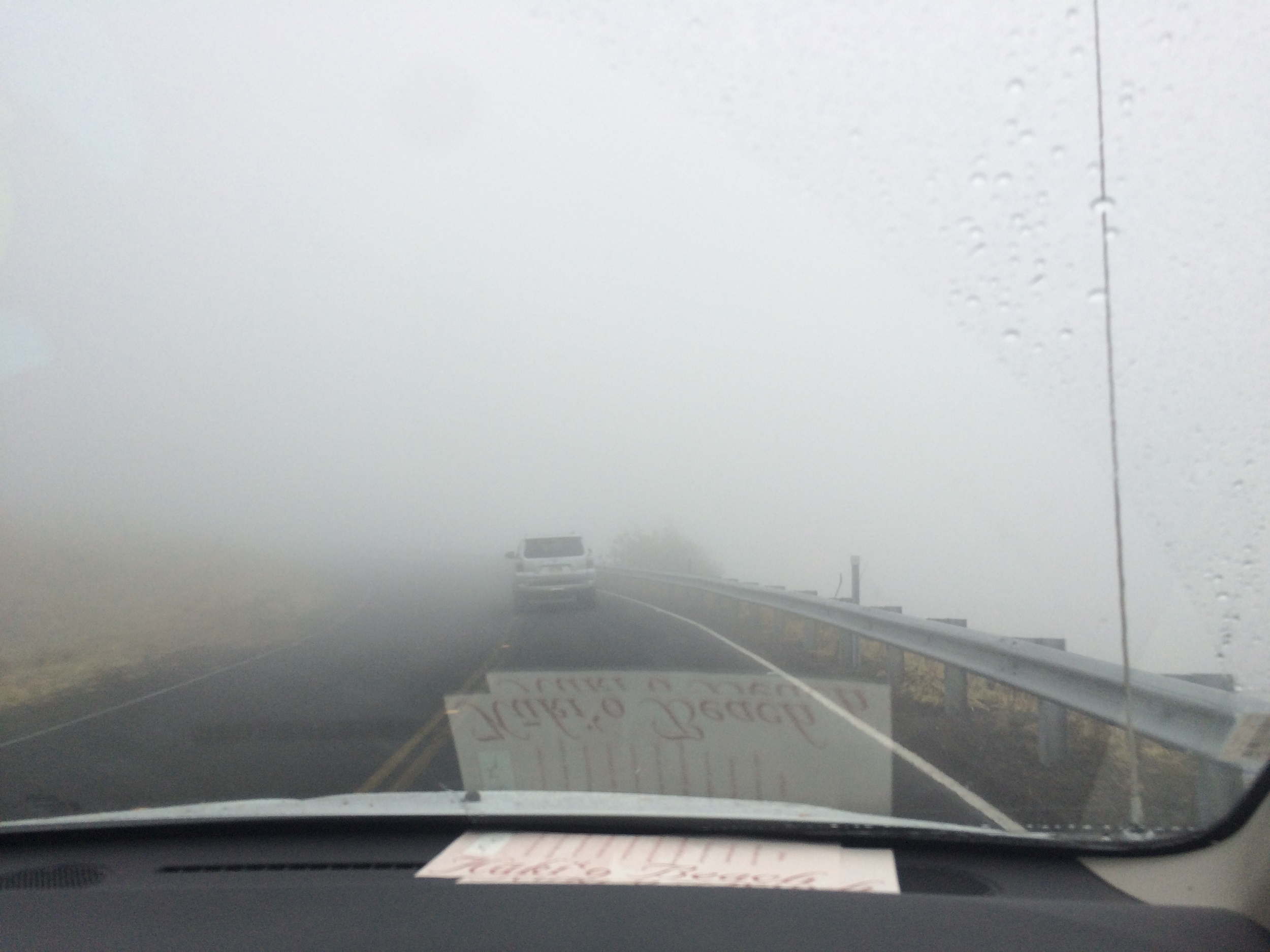 The drive up was a bit daunting with a blanket of fog all but obscuring our second vehicle at times!