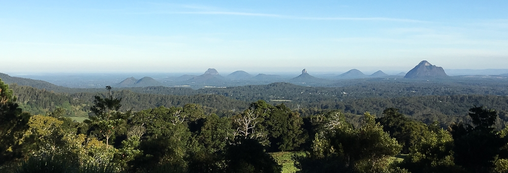 The Glasshouse Mountains from Mary Cairncross Scenic Reserve