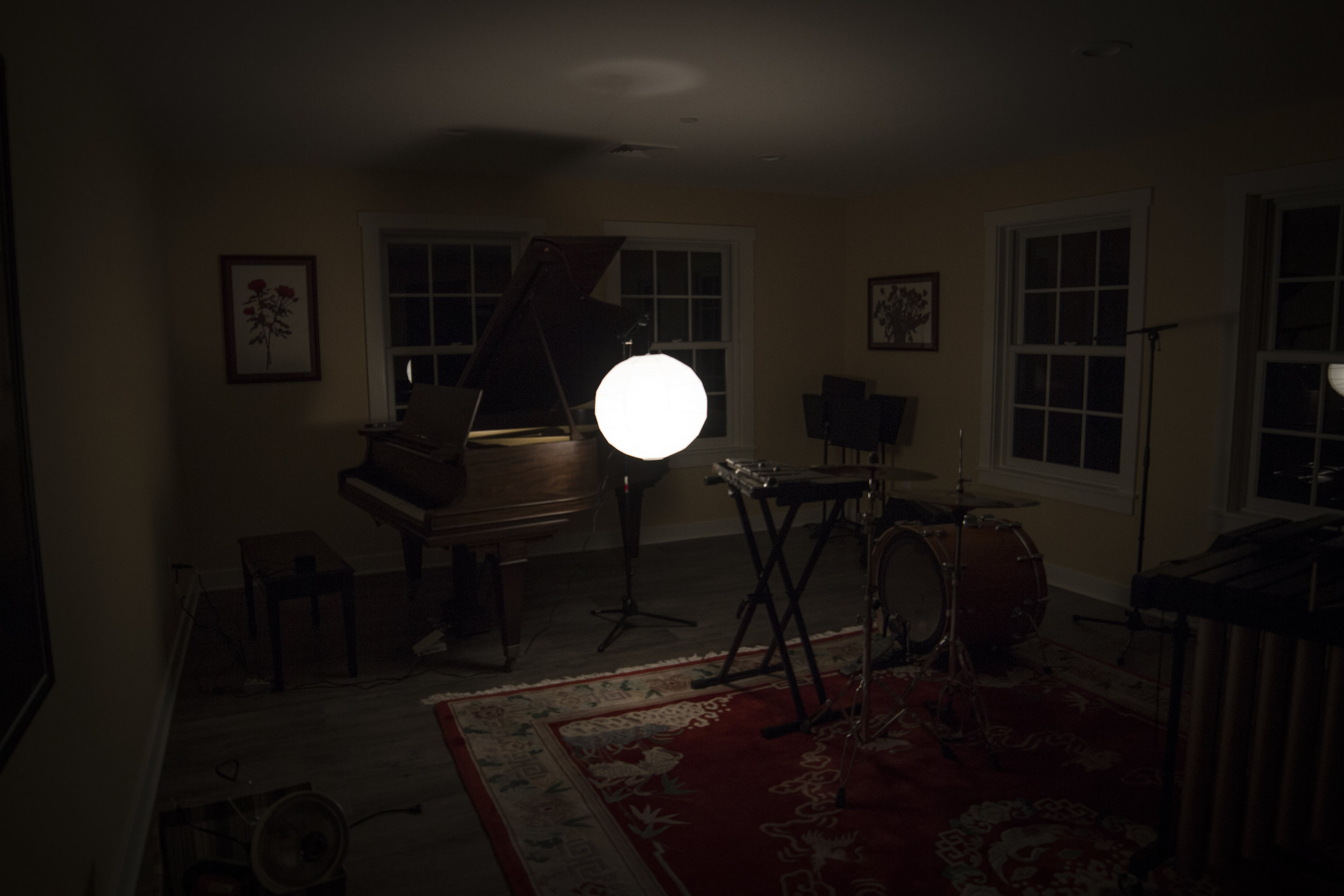 A glimpse into our studio at  Avaloch : we were experimenting with different types of lighting for Molly Joyce's piece.