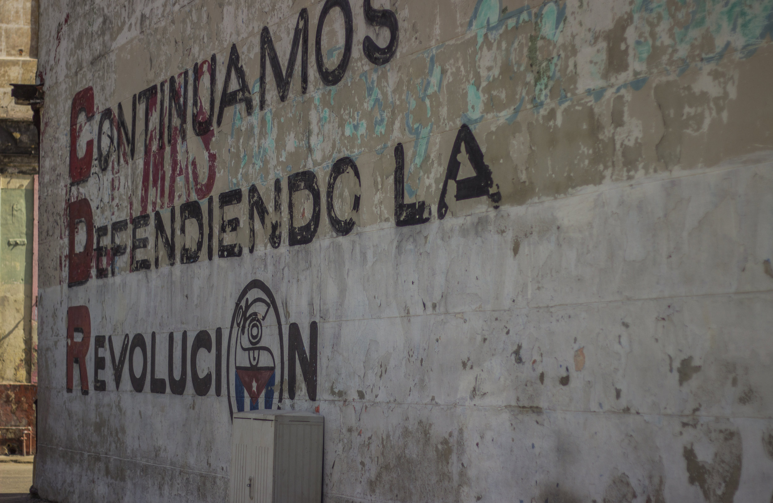 A message from the CDR ( Comités de Defensa de la Revolución),  a network of committees within the country that exist to help report counter-revolutionary activity throughout Cuba.