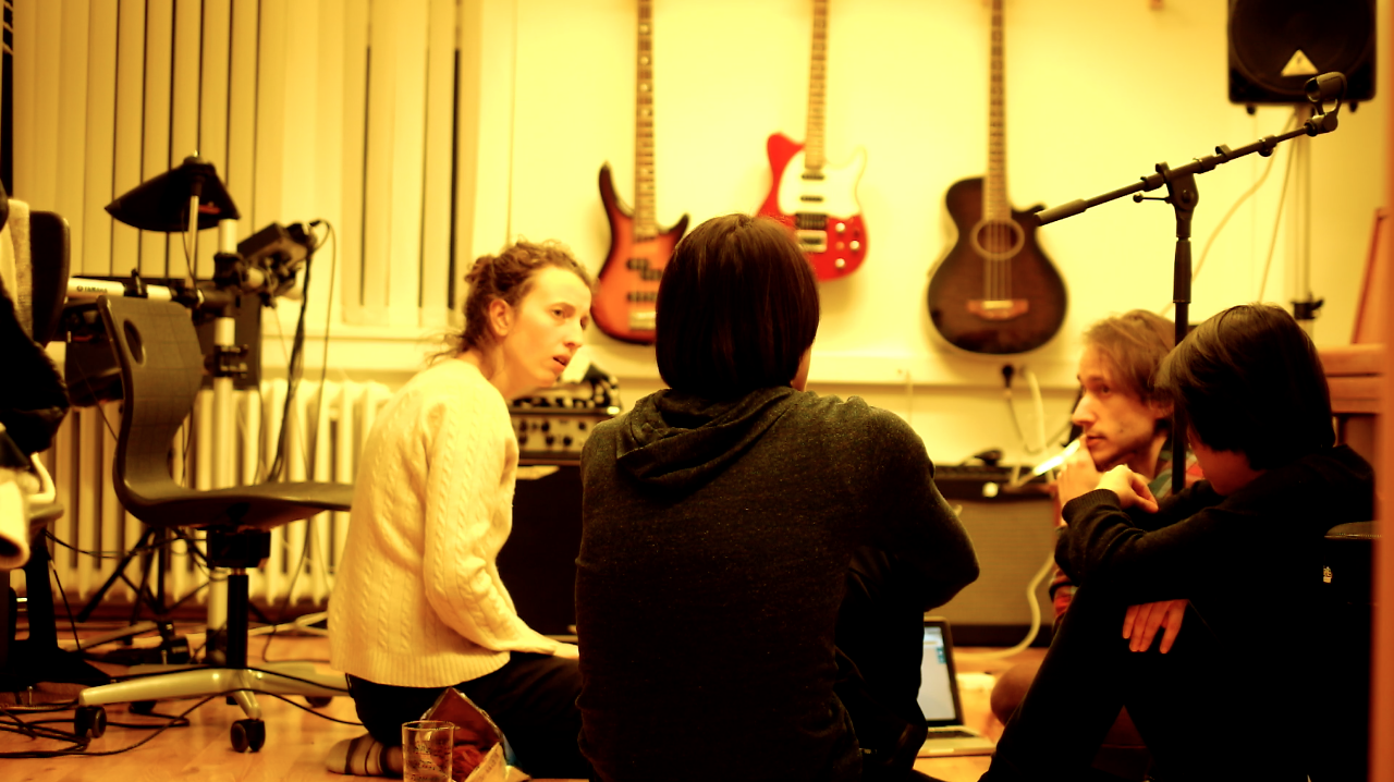 Nicoletta Favari, Yannis Zhang, Yumo Wu, and Christopher Salvito (left to right), discuss music and visual art for the album.