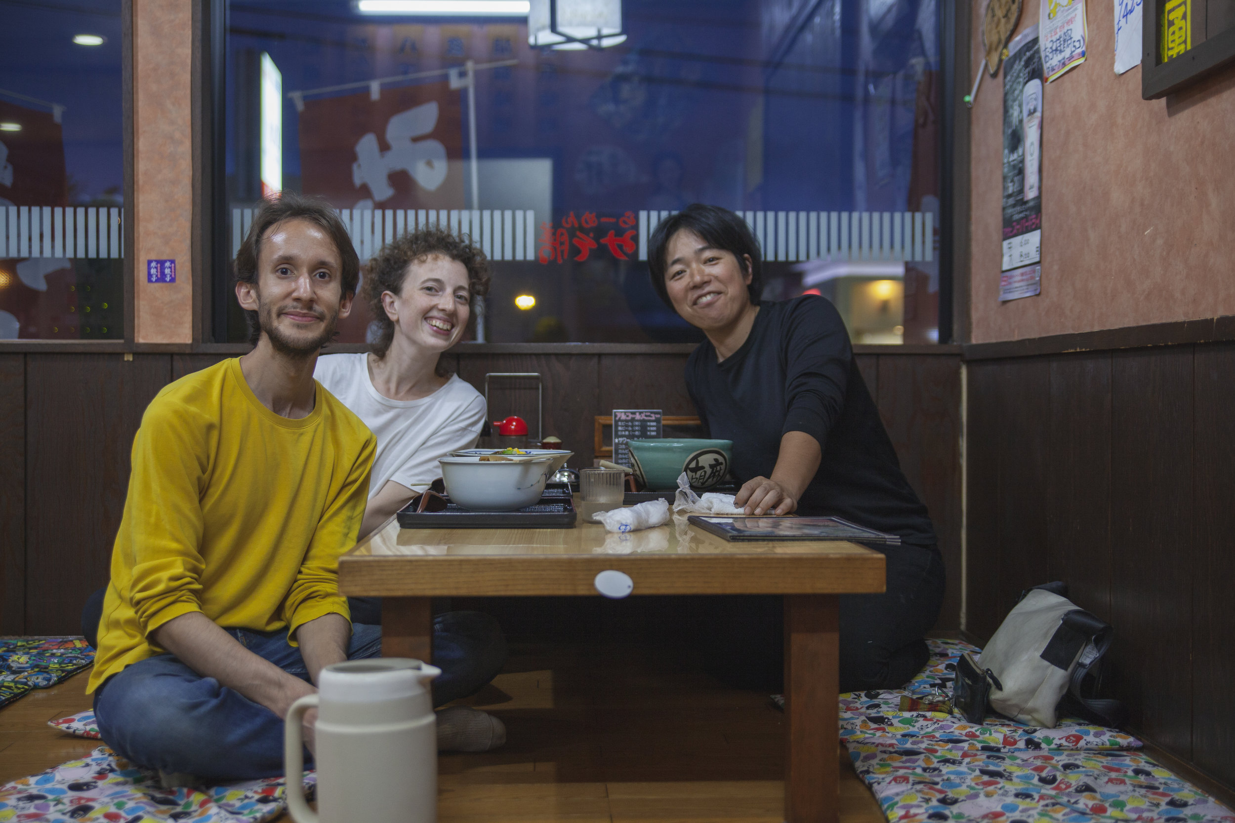 Sharing ramen on a rainy day with our new friend and collaborator Hiromi Hoshino