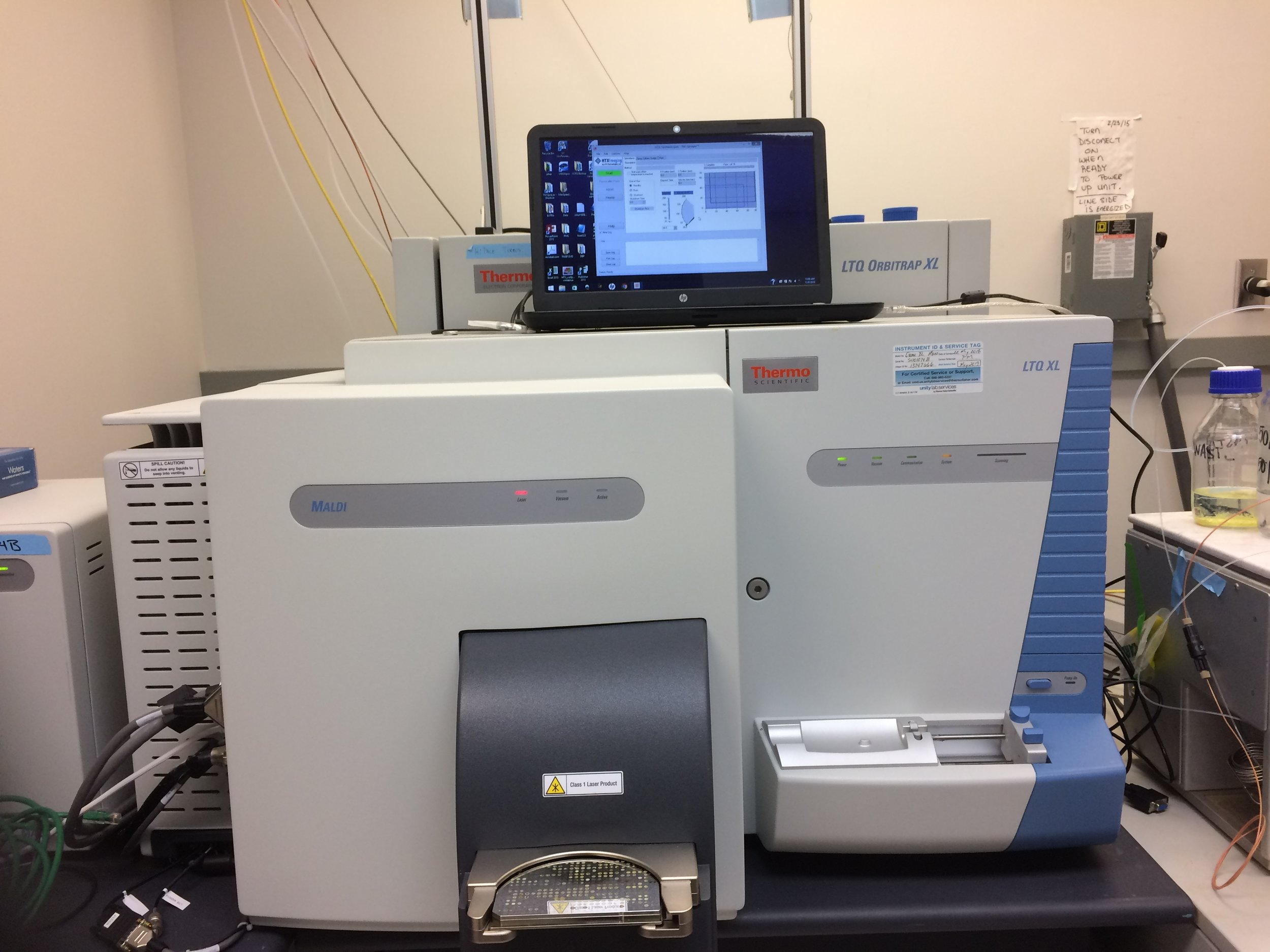 Figure 2.  LTQ Orbitrap XLTM Hybrid Ion Trap Orbitrap Mass Spectrometer (ThermoFisher ScientificTM) in the lab of Dr. Namandje N. Bumpus at Johns Hopkins University School of Medicine.