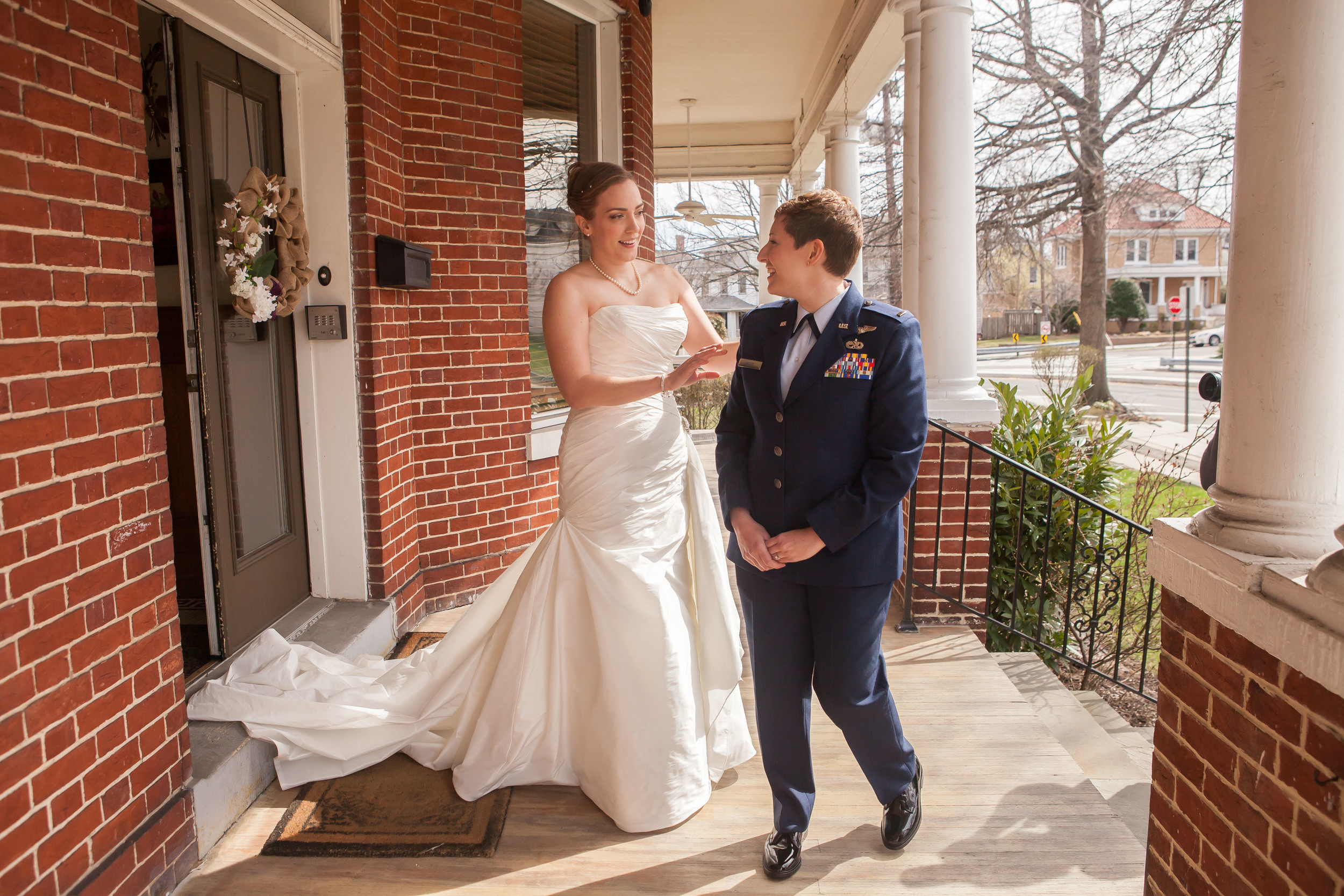Megan and Alison had a First Look on the front porch before their ceremony.
