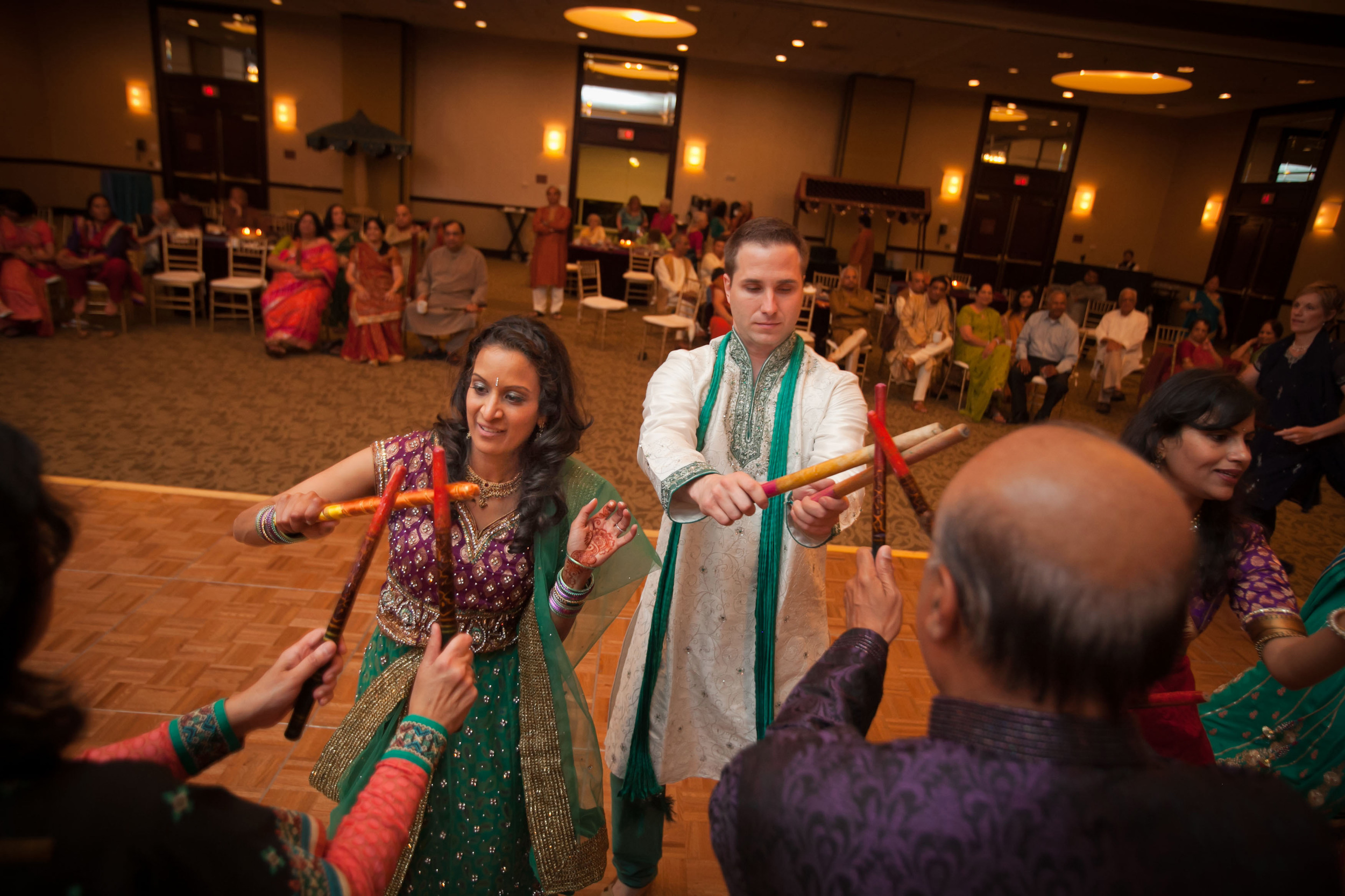 Aditi and Matt during the Raas portion of the evening
