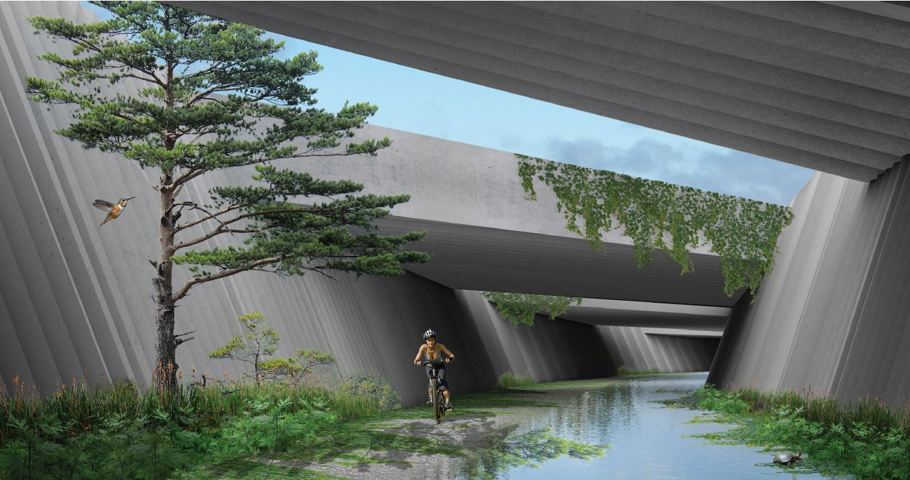 Cut and Spill [Over] Living Underpass by Object Territories, the winning entry for the BRIDGE category of the Elevating Erie Ideas Competition. The team proposed this vital trail connection from the Old Erie Canal terminus in DeWitt to Towpath Road beneath the existing Interstate 481 corridor.