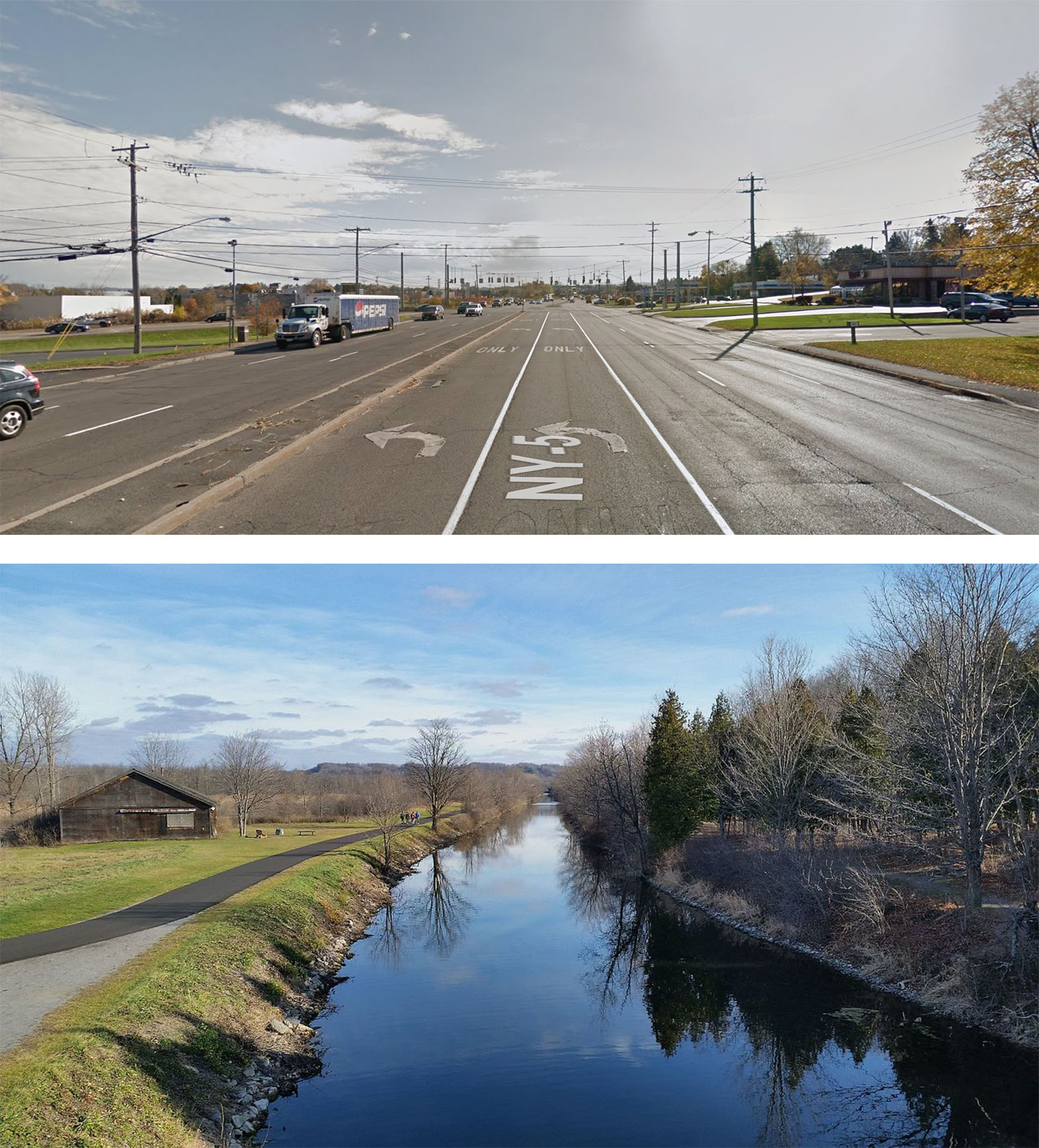Erie Blvd vs. Canal State Park: Erie Boulevard Today; The Old Erie Canal State Historic Park