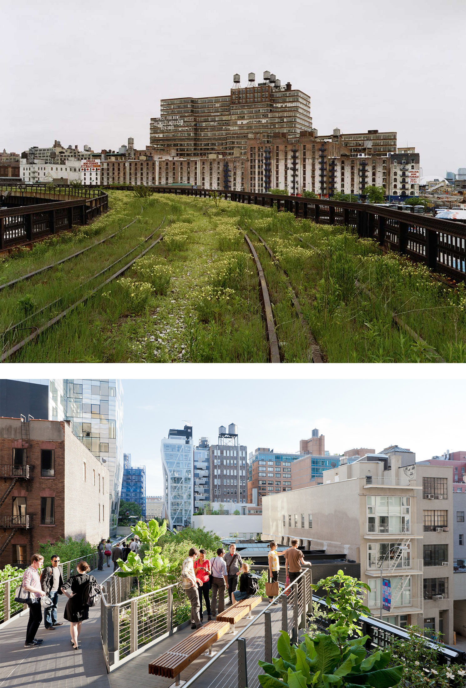 Highland Before/After: Abandoned West Side Line Before Renovation; The High Line Park Today