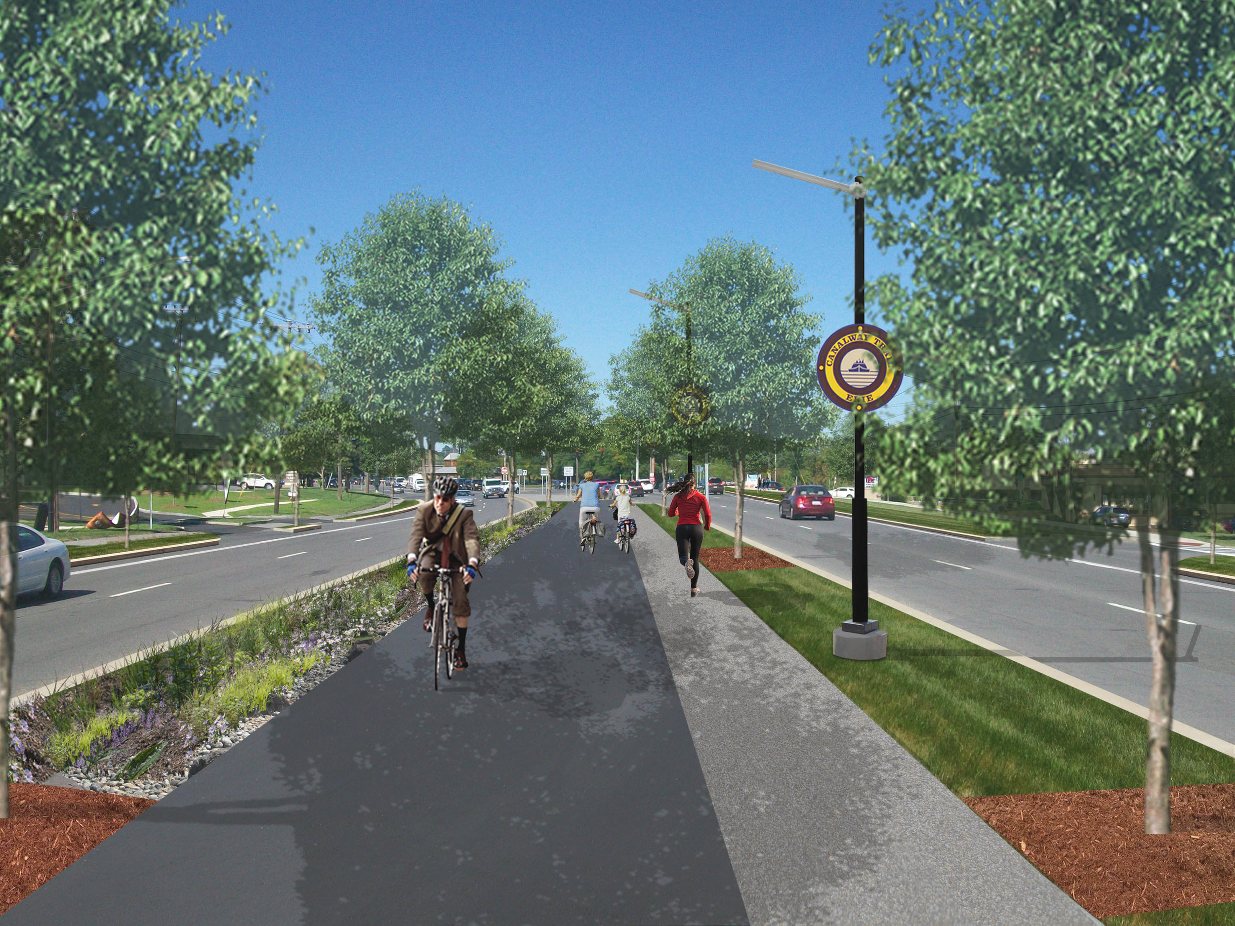 Visual simulation of a median-based greenway/bikeway along Erie Boulevard East in DeWitt