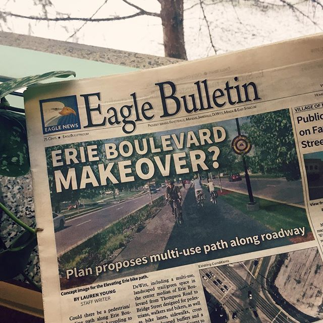 Headline news. . . . . . #elevatingerie #headlinenews #inprint #newspaper #bigdeal #media #community #thisisdewitt #syracuse #erieboulevard #makeover #bikelane #cityplanning #urbandesign #win #itssnowingagain