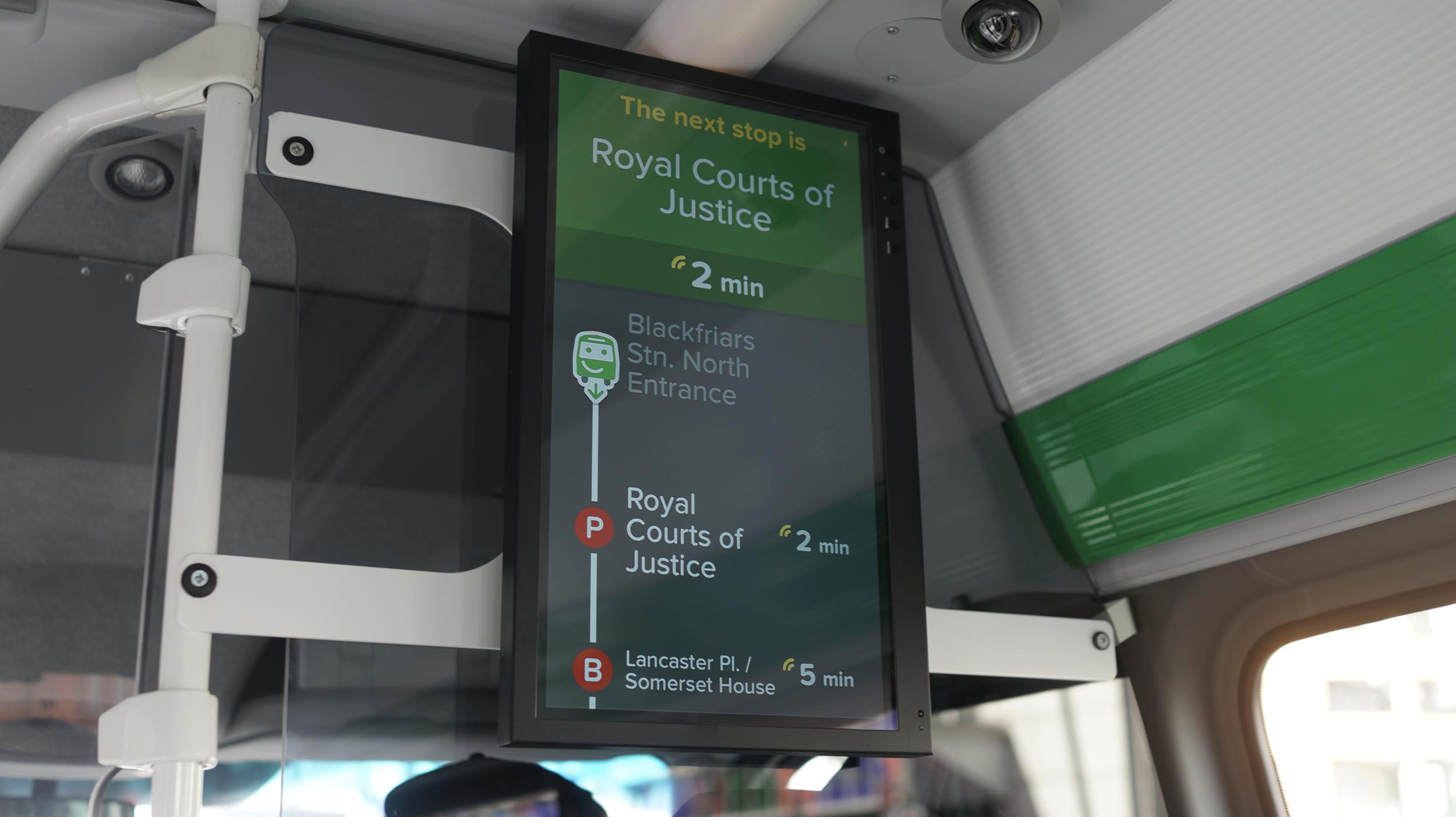 The integrated Smartbus screens providing live location and ETA data via live Bus APIs and app data