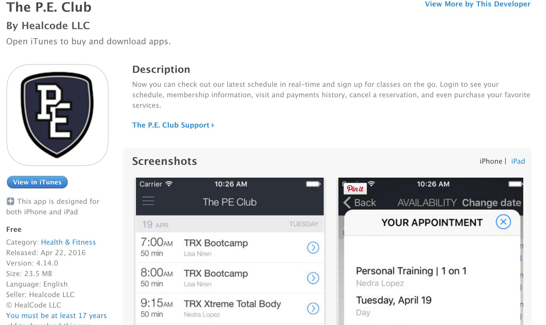 The P.E. Club App
