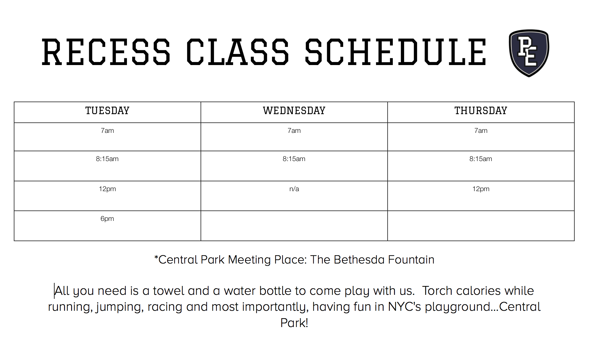 The P.E. Club: Recess Class Schedule