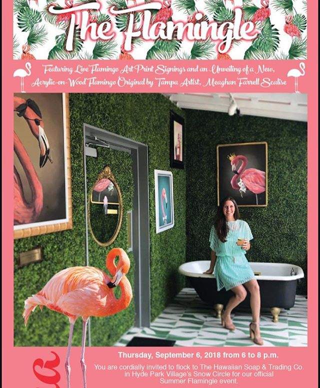 Invite the flock for our Summer Flamingle event on Thursday 9/6/18 from 6-8pm. Signed art prints, treats & storewide sale.  #flamingle #tampa #hydepark #hawaiianparty #aloha #summerfun #tada #artistlife #meettheartist #pink #art #tampaartist #supportsmallbusiness