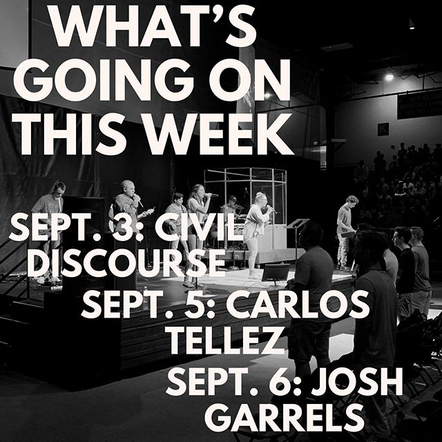 Happy Monday everyone! Here is what this week in chapel is looking like! Make sure you keep track of our story for any updates and some information about the speakers! - Chapel Team