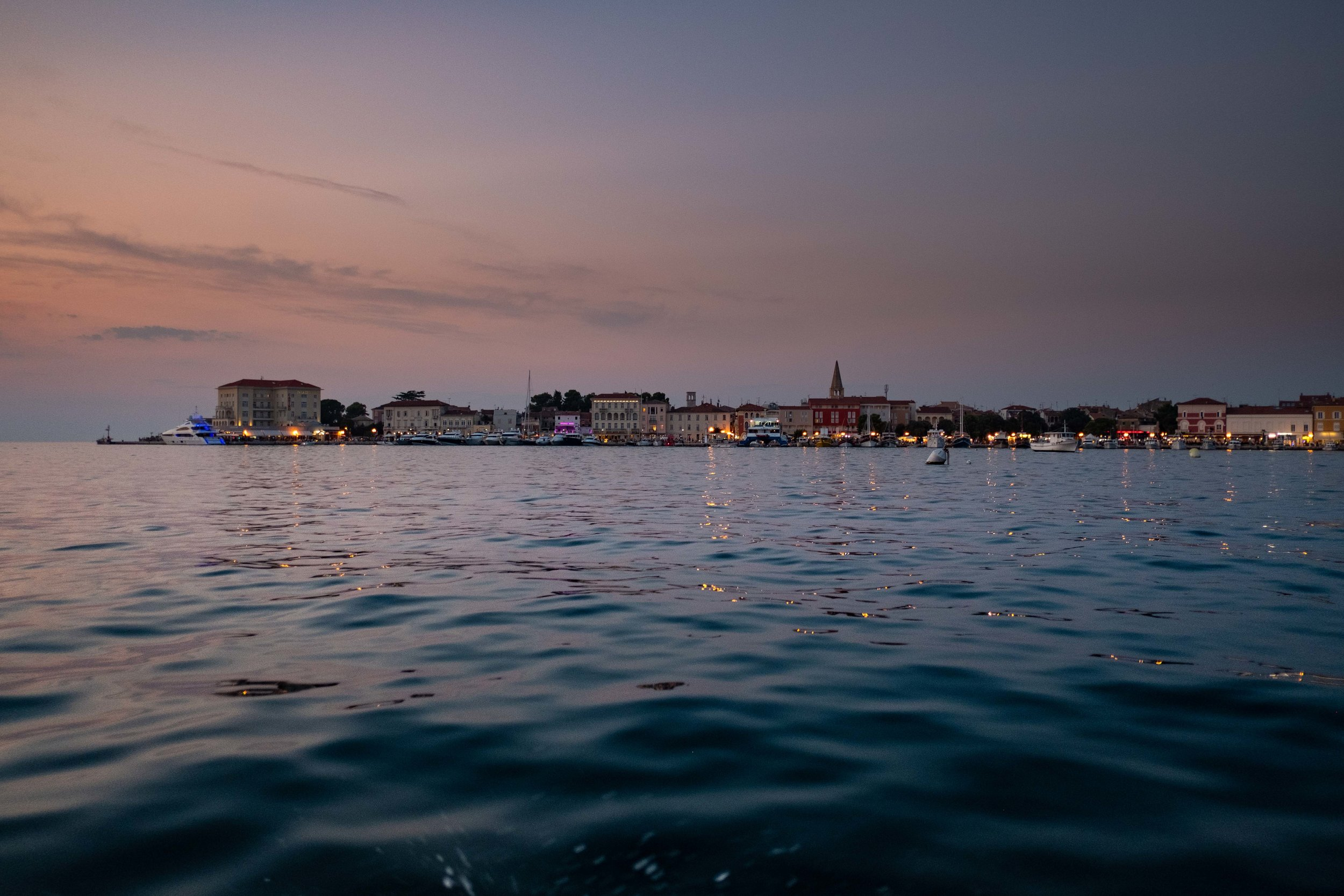 The view from the water taxi into Porec