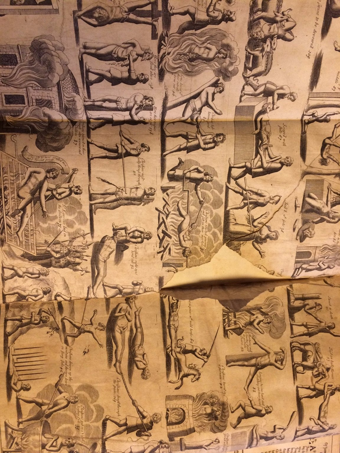 Foldout illustration from an Elizabethan text on Christian martyrs that B. D. showed me in his office. The full text is several volumes long, with each volume over a foot and a half tall, and at least the better part of a foot wide.