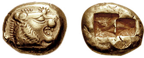 Lydian coin from roughly 6th century B.C.
