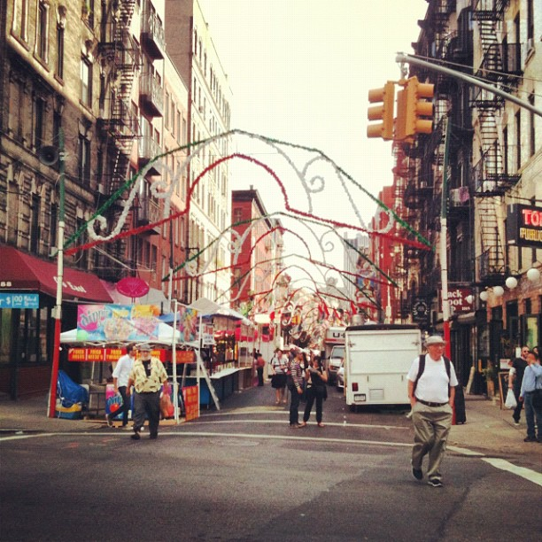 Some kind of giant Italian festival in the making on Mulberry Street (Taken with  Instagram )