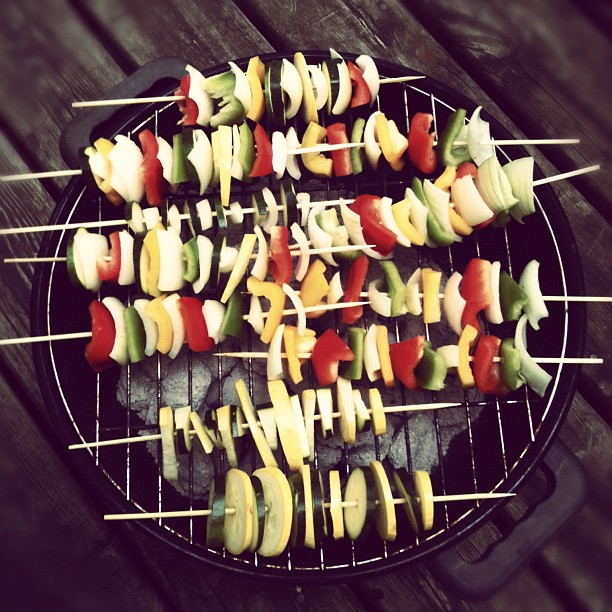 Vegetable kebabs with Lillie, Maya, and Noah (Taken with  instagram )