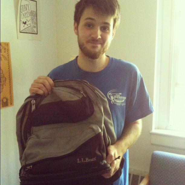 Elijah saying goodbye to his backpack of 9 years (Taken with  instagram )