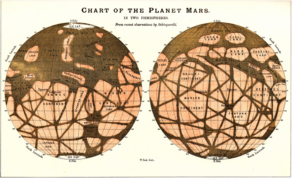 freakyfauna :      Chart of the Planet Mars. From recent observations by Schiaparelli.   Signed W. Peck Delt.   Found  here .