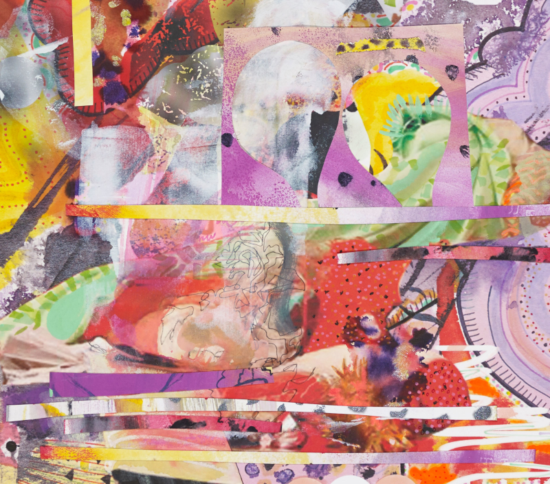 """Anything Sacred, One (close-up), 2014, Digital collage and mixed media on Rives BFK, 26"""" x 20"""""""